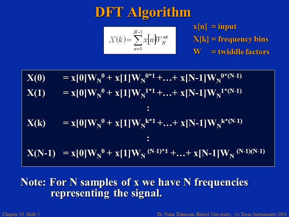 DFT Algorithm x[n] = input. X[k] = frequency bins. W = twiddle factors. X(0) = x[0]WN0 + x[1]WN0*1 +…+ x[N-1]WN0*(N-1)